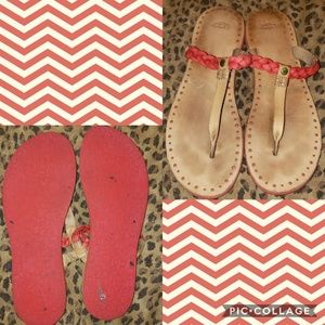 Ugg Red Leather Sandals Size 11